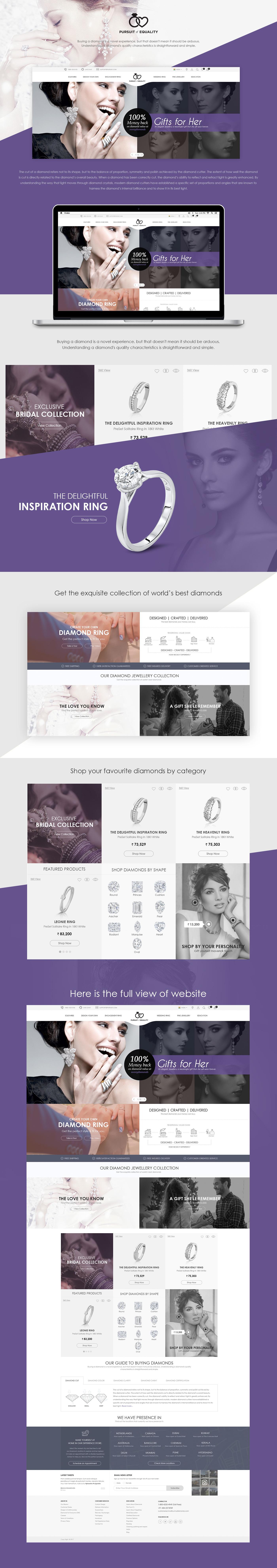 Website Design ui design UX design graphic design  Responsive Design Jewellery Diamond jewellery  Web Design  branding