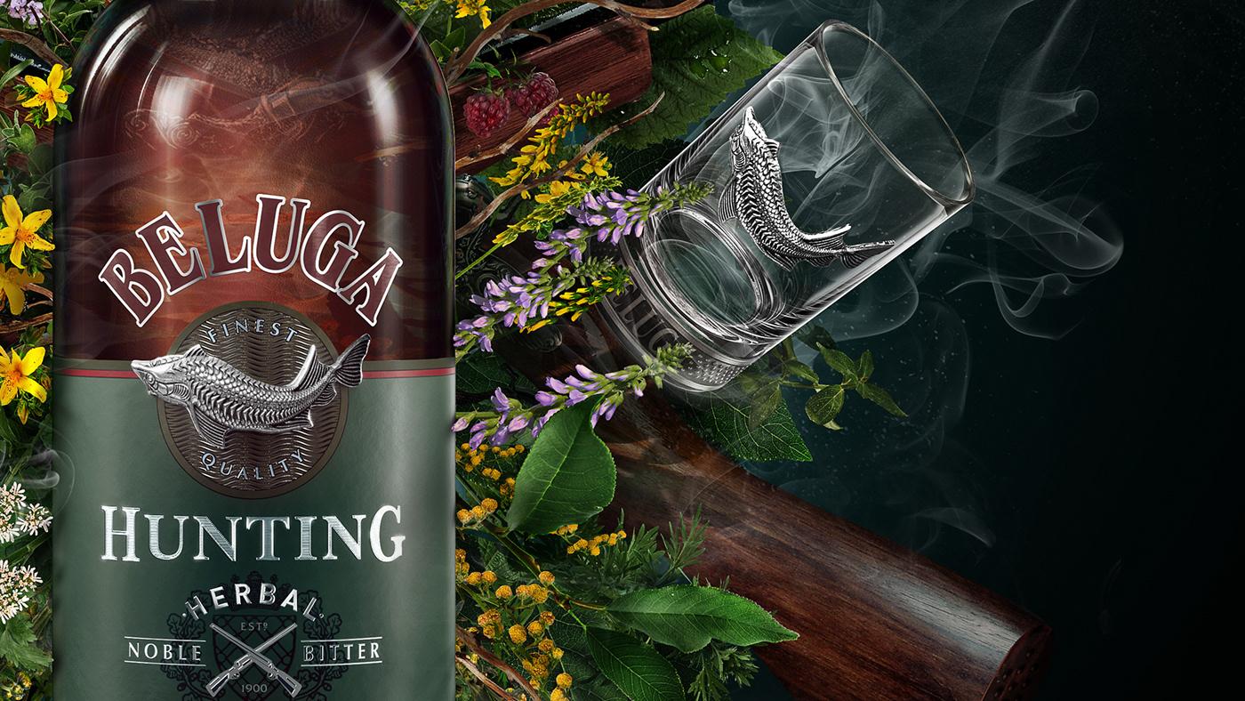 beluga bitter 3D bottle alcohol CGI retouching  postproduction Creative Retouching