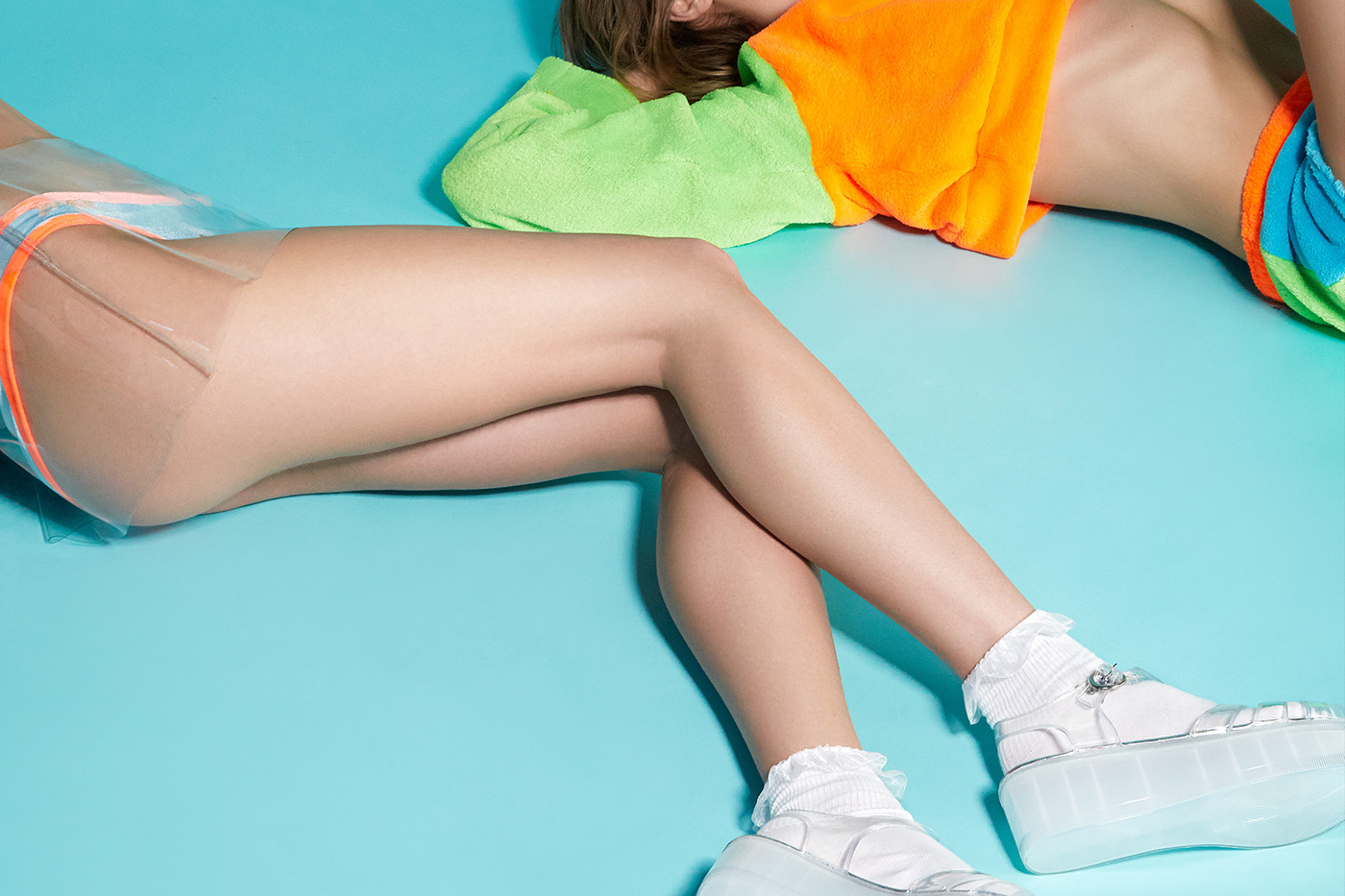 Fashion  models modern graphic color studio