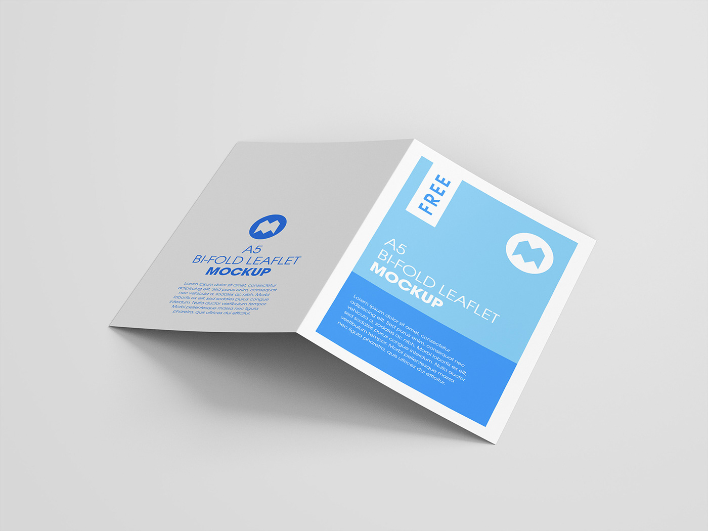 Free A5 Bi Folded Leaflet Mockup