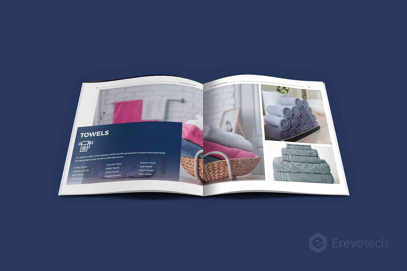 towel products catalogue design