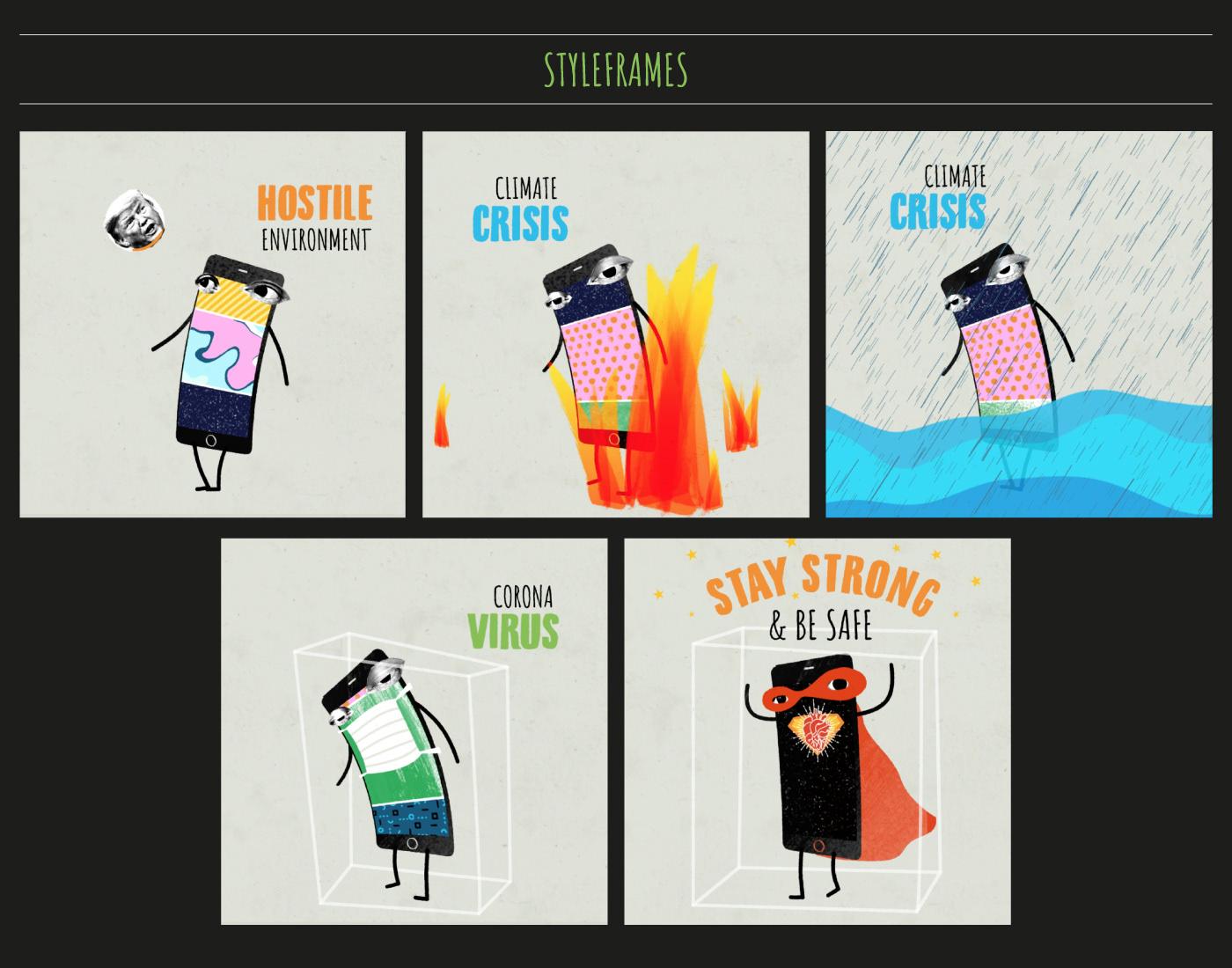 animation  climate change climate crisis corona virus digital hostile environment motion phone smartphone social media