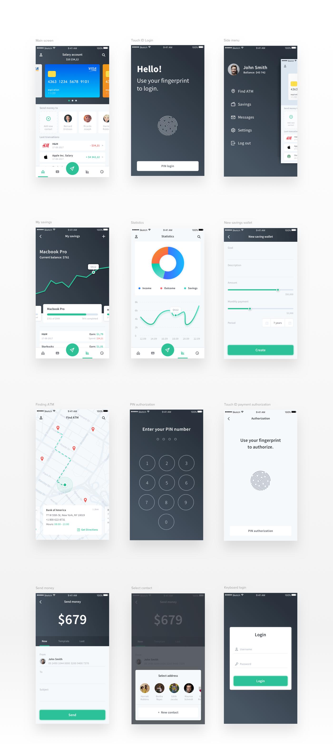free freebie kit finance banking WALLET map Bank Touch ID 7ninjas