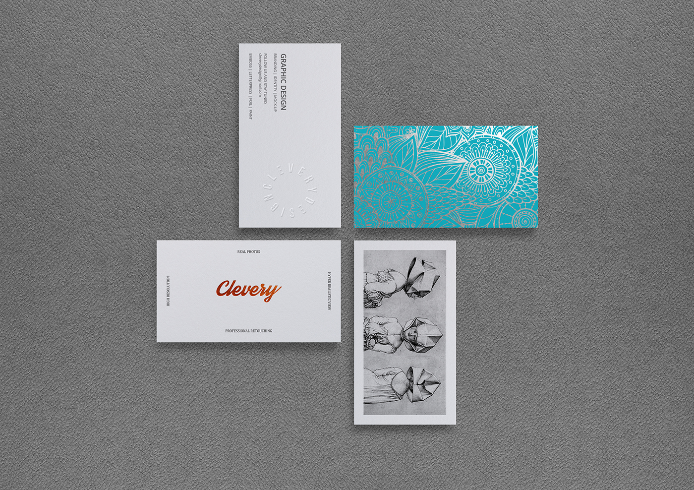 Photorealistic Business Card Mockup // White | Emboss on Behance