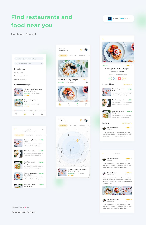 Restaurant App Free UI Kit · Pinspiry