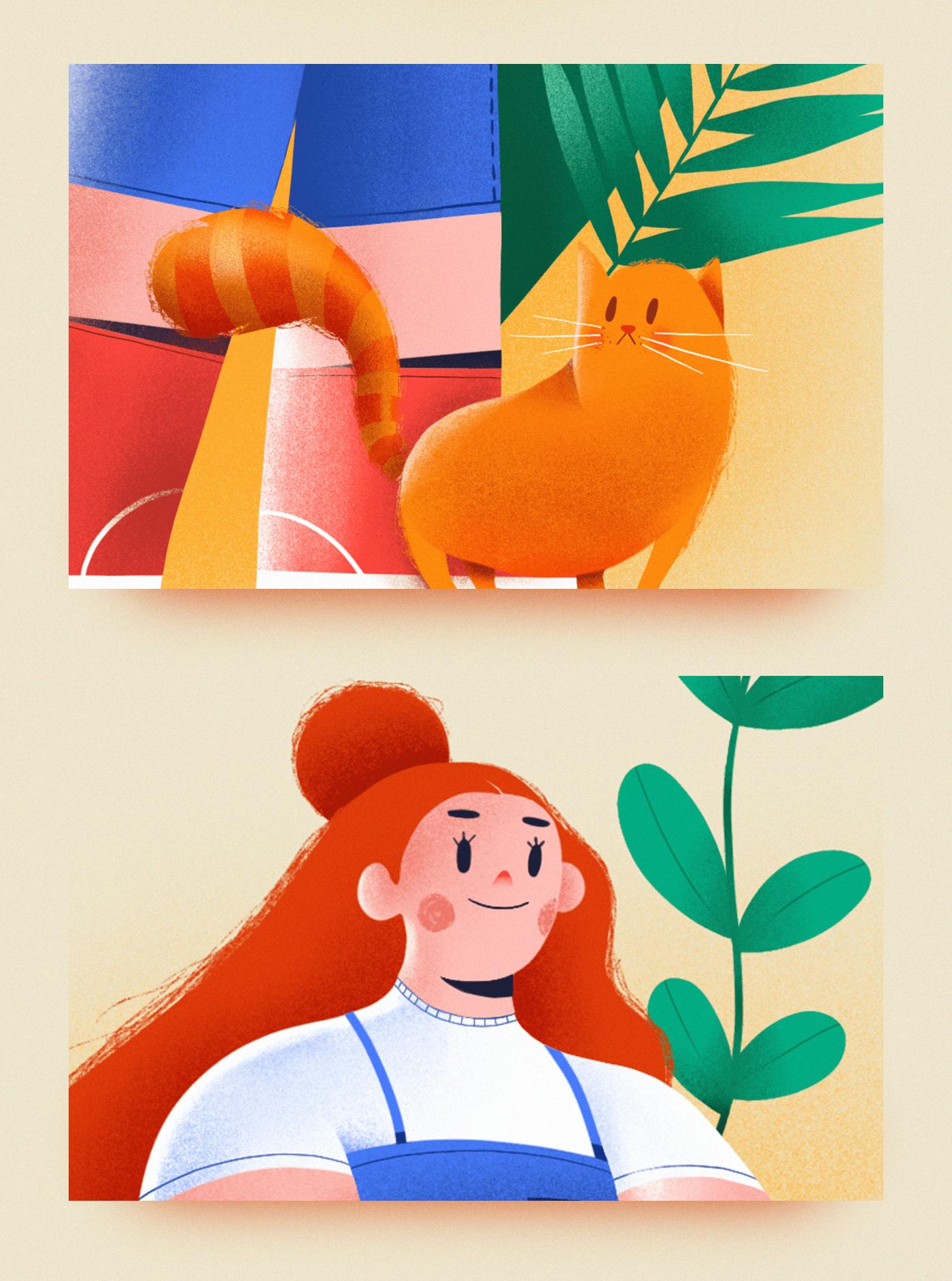 Pet,Cat,garden,ILLUSTRATION ,Procreate,woman,leaf