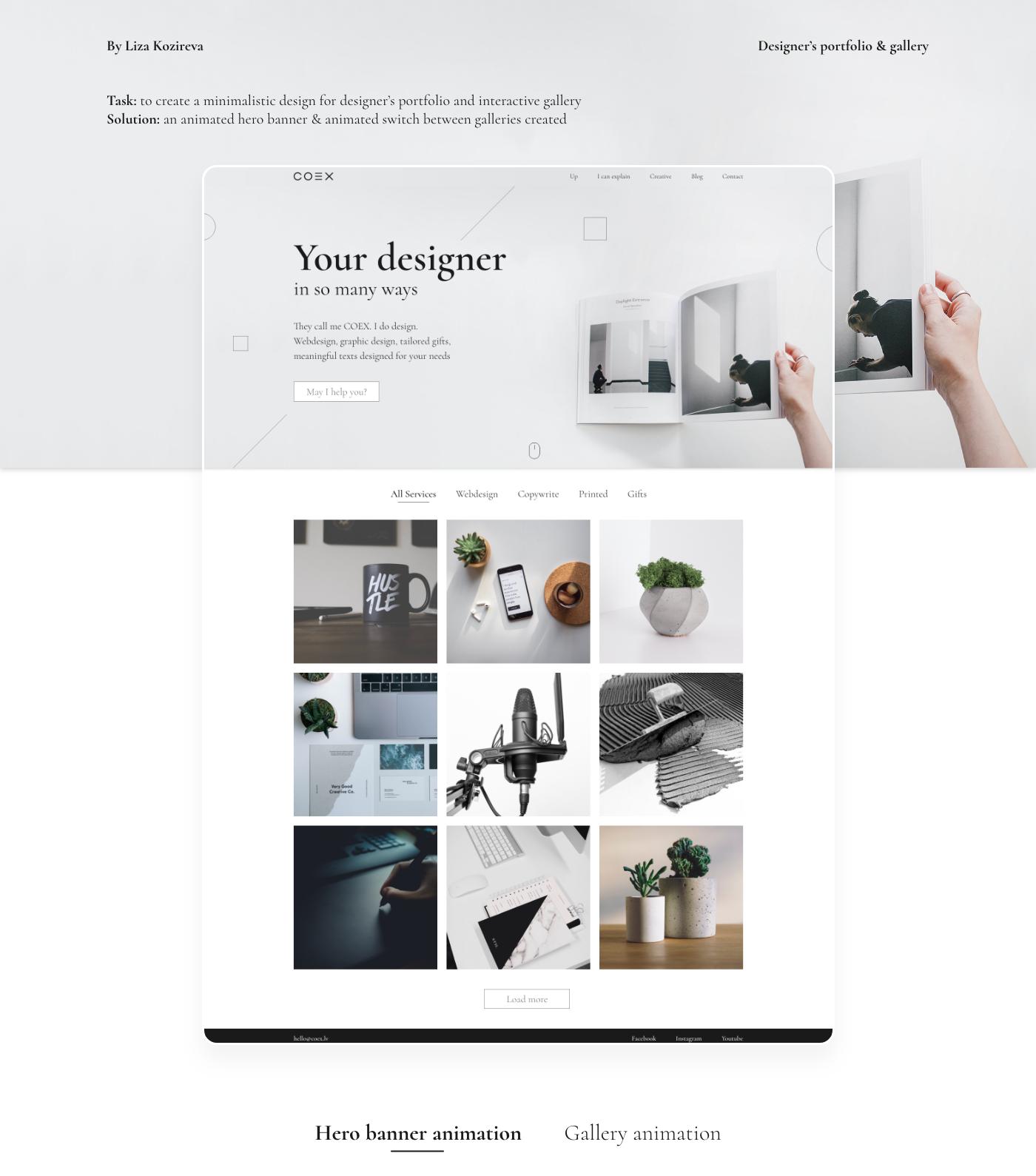 desktop gallery landing page portfolio Webdesign