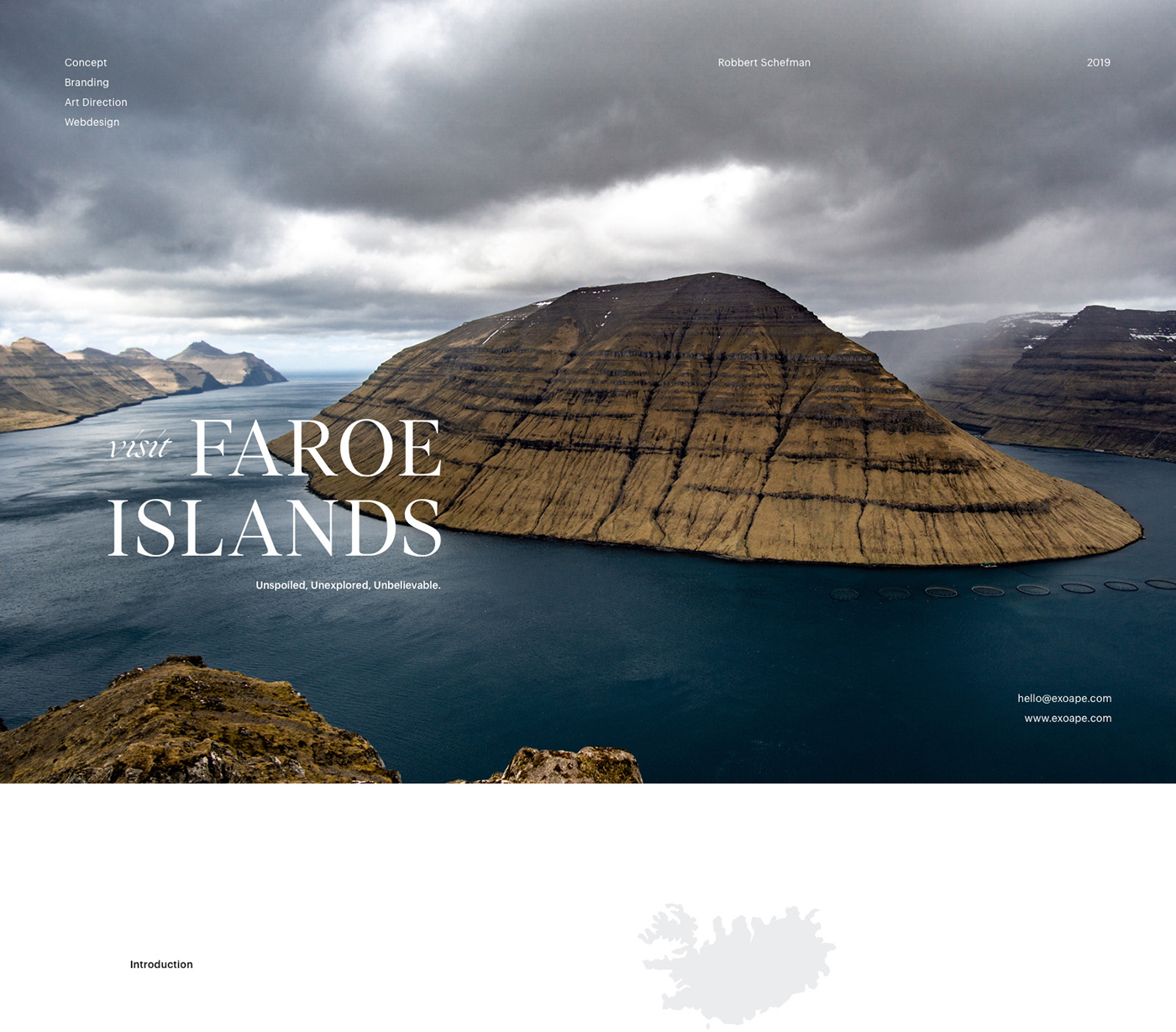 mountain in the sea with elegant serif font