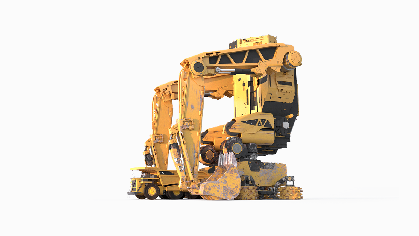 robots ILLUSTRATION  CGI modeling retouch Callendar print design  print industrial machine