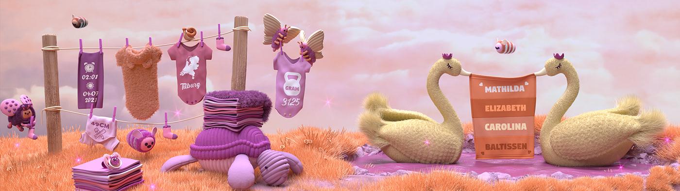 3D animals baby Character design Fur ILLUSTRATION  pink pixar Render
