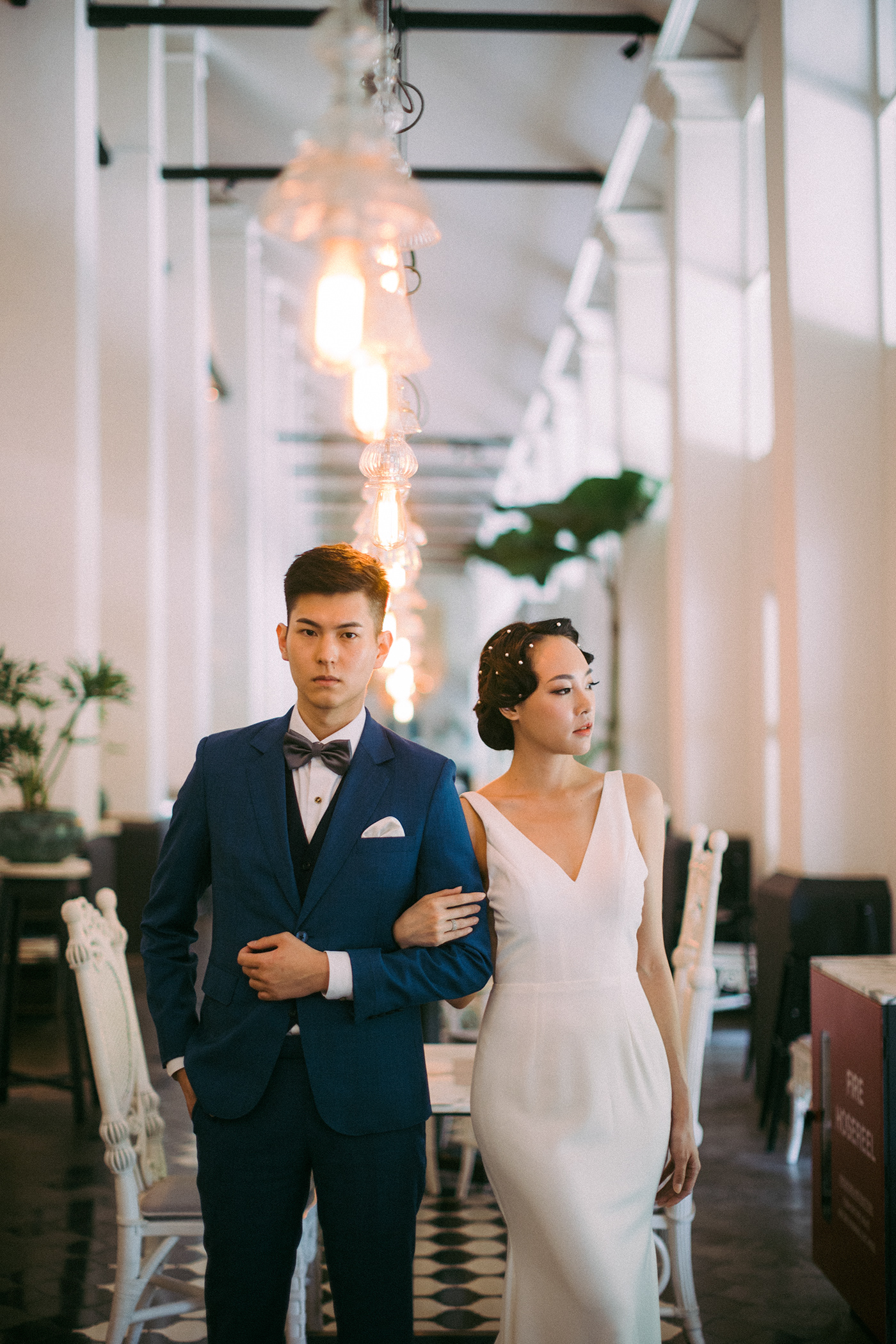 Image may contain: wedding dress, person and bride