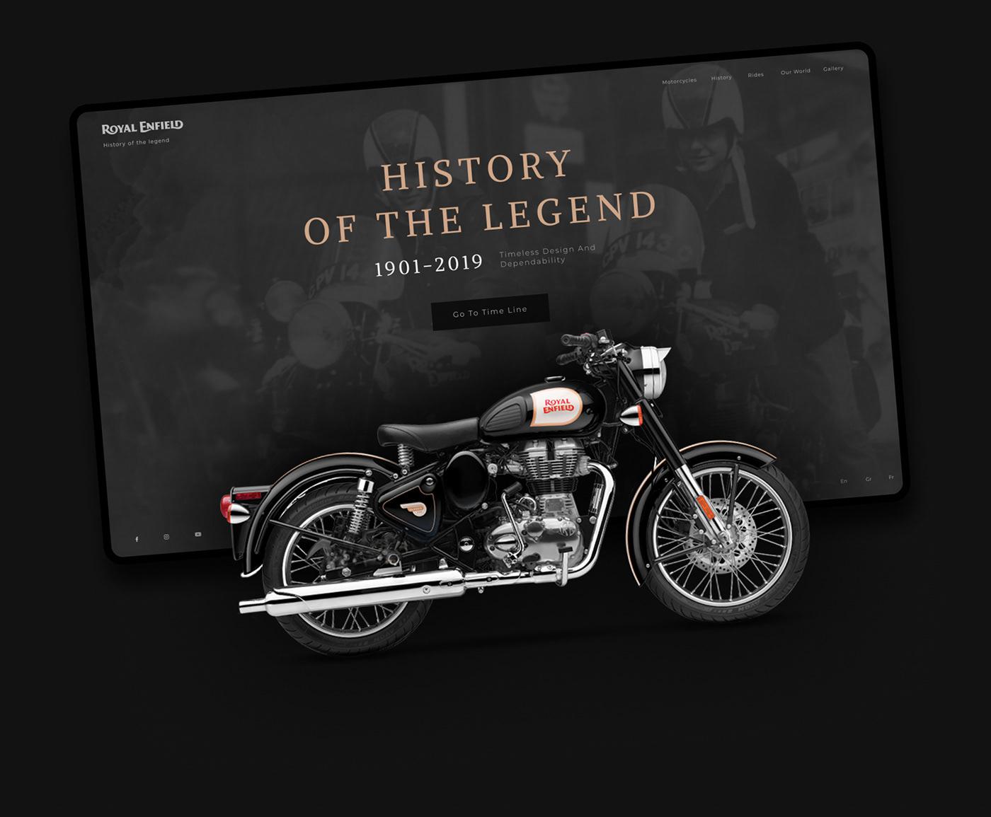 UI ux intrface motobike history Figma Webdesign rides Retro dark