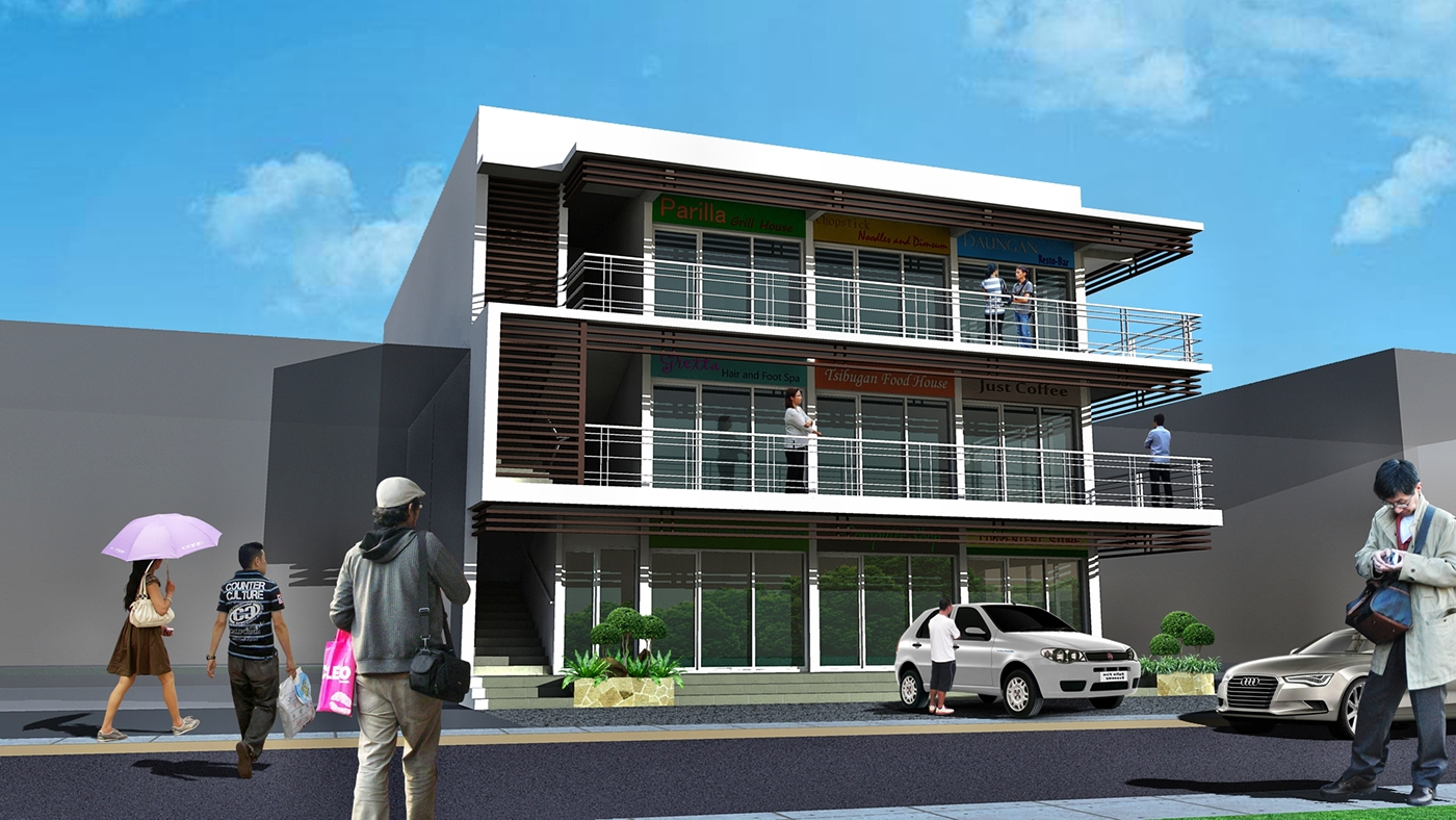 Three Storey Building Commercial And Residential Design
