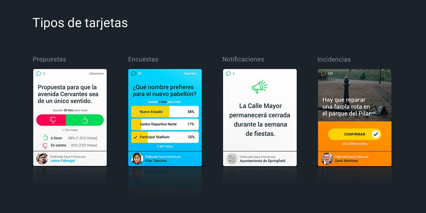 ux UI Comunity opinion vote Participation collaborate Mobile app app city