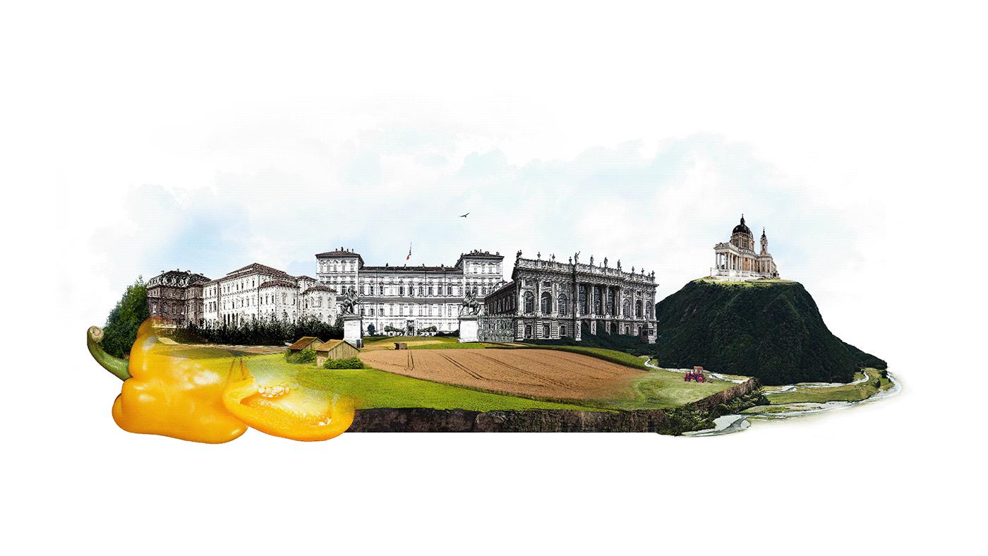 atlas Food  Turin blending collage Fruit agri-food chain photographic manipulation