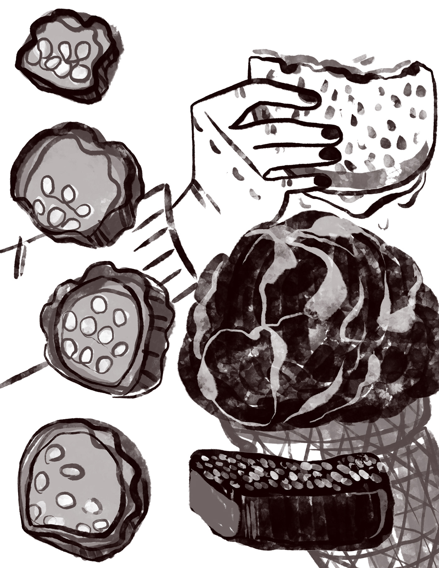 MICA Food  digital ILLUSTRATION  sketches