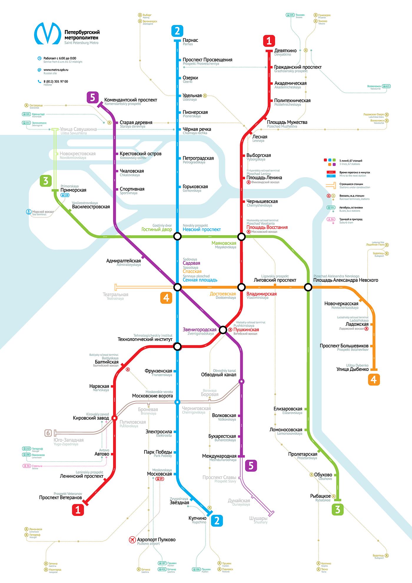 Saint Petersburg Metro Map Shema Peterburgskogo Metro On Behance