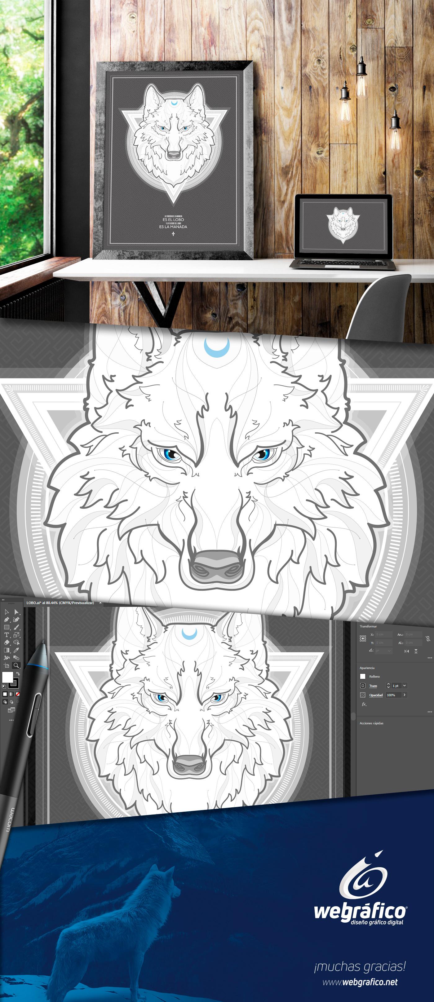 White wolf poster cartel ilustracion ILLUSTRATION  digital aguascalientes mexico Lobo