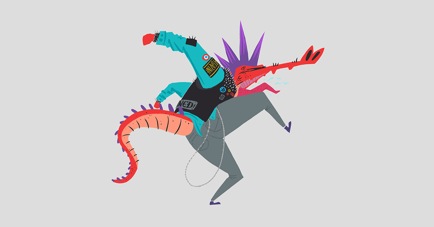 punk mods reptiles rock music characters Poses alligator Style boy