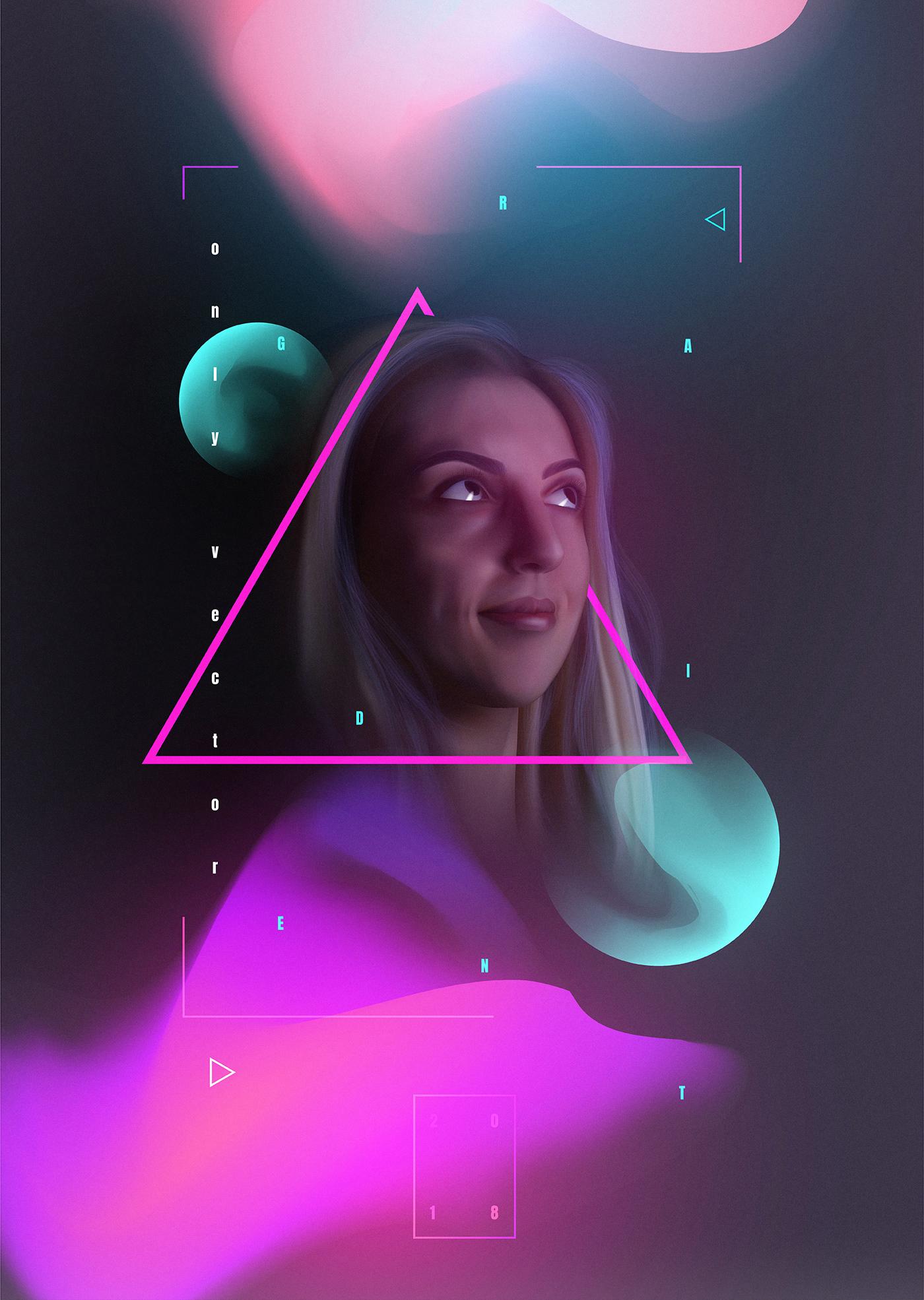 vector self-portrait mesh neon geometry poster design gradient girl