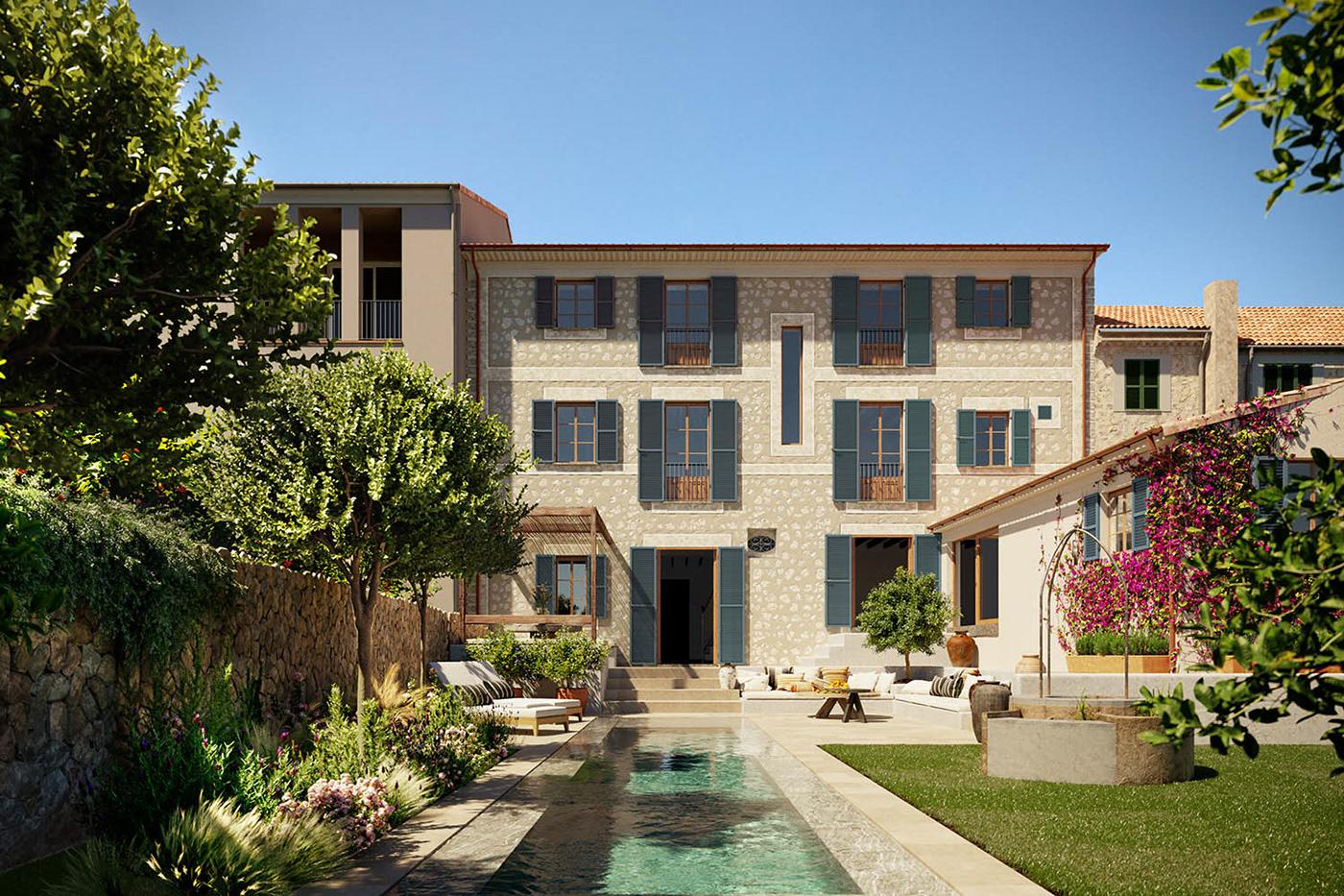 architecture CGI mallorca rendering Townhouse visualization
