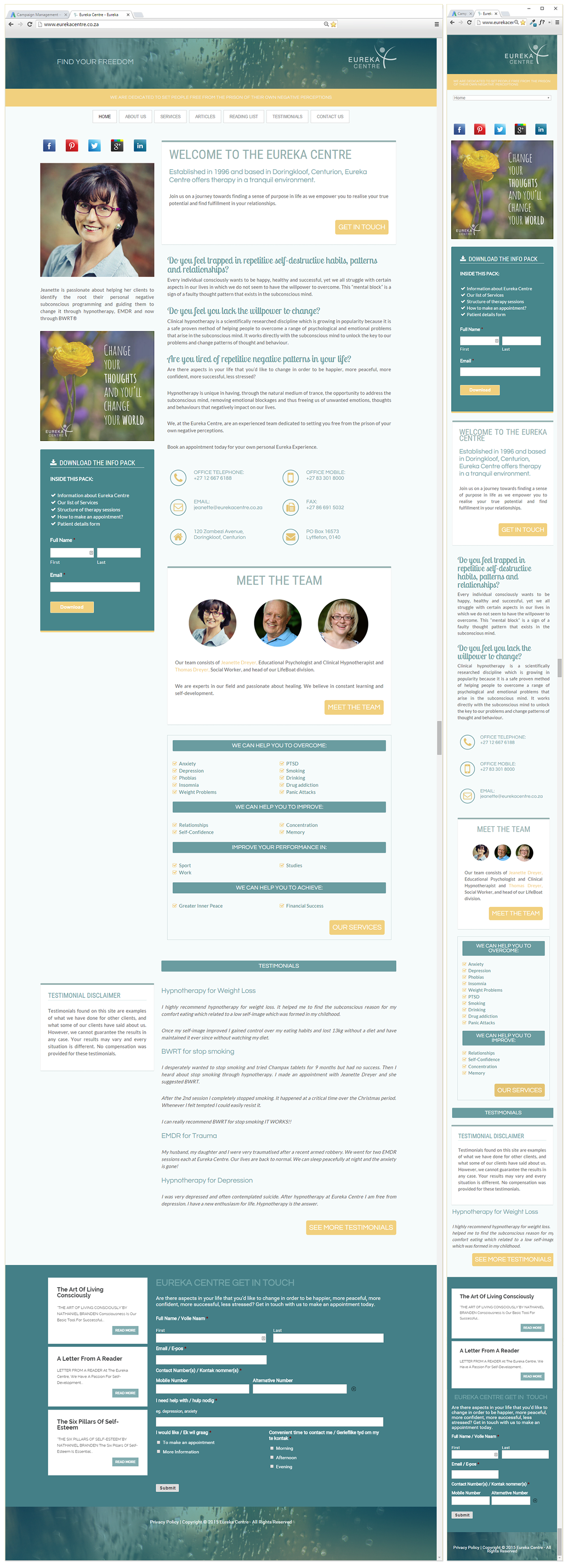 Responsive Design Eureka Centre Website OmniBrand wordpress