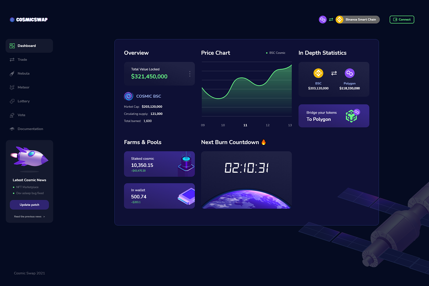 CosmicSwap cosmos crypto dashboard Space  UI Webdesign