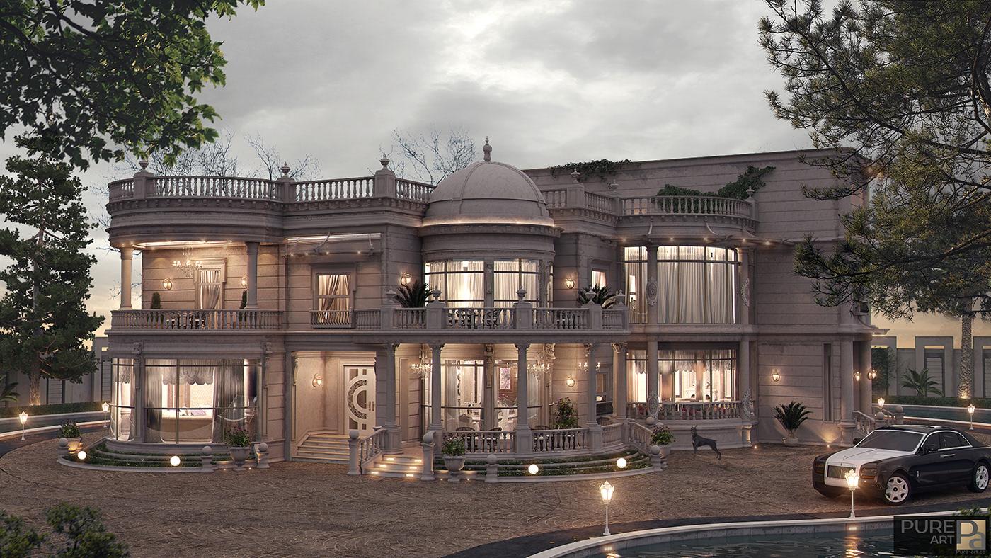 Villa vrar photoshop 3D Rendering 3D Studio Max luxury Interior design pure_art royal Classic interior_design CGI