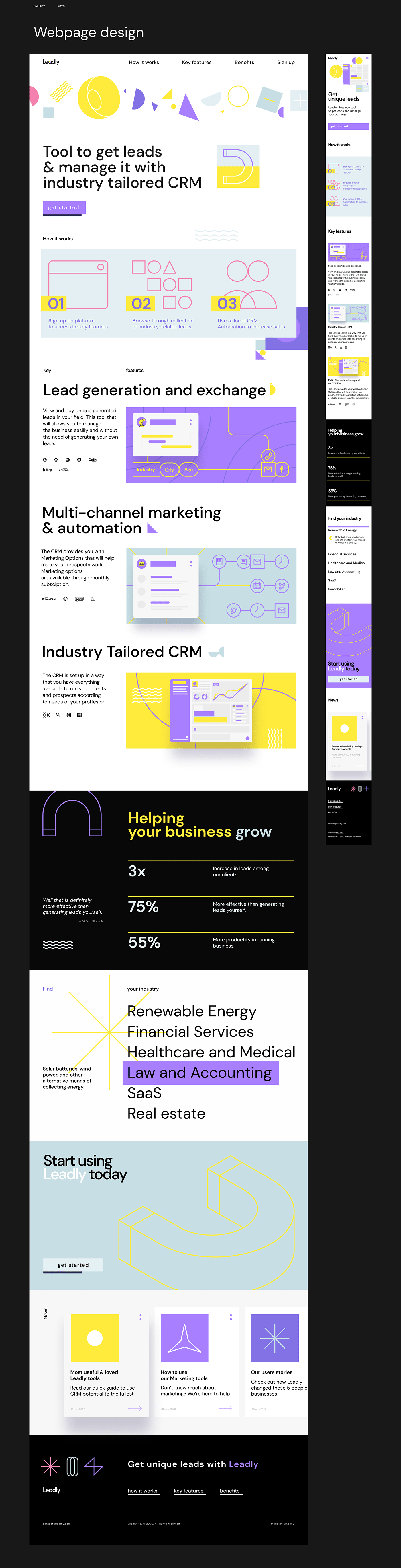 abstract animation  CRM Leadly magnet primitives purple yellow