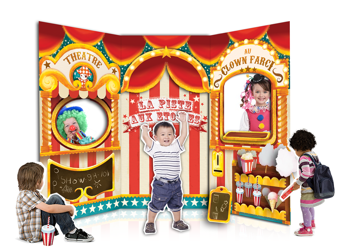 cardboard Playground toy game children shop Circus puppet theater  Show
