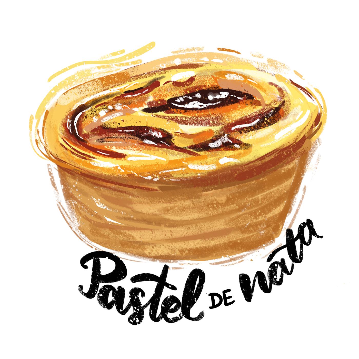 Portuguese Travel Journal pastel de nata Portugal Lisbon illustration food foodie art Digital Art  travel art