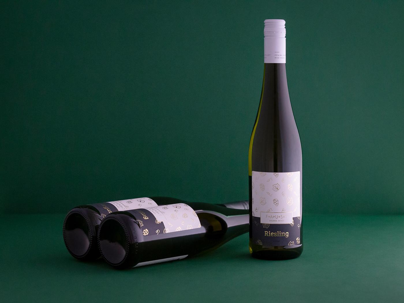wine labels organic wine FRANK FAUST Faust rheingau bootle of wine boom studio Packaging Wine Packaging