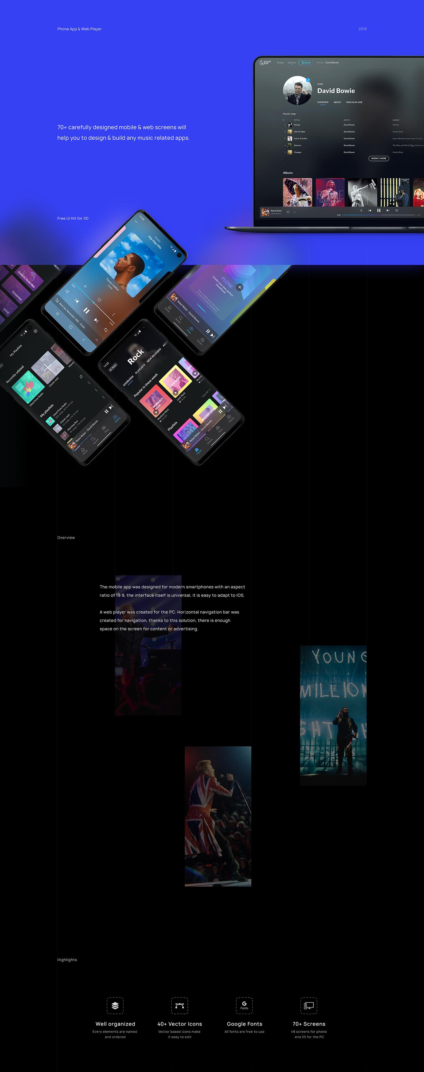 music freebie ui kit app free ui kit music app UI ux