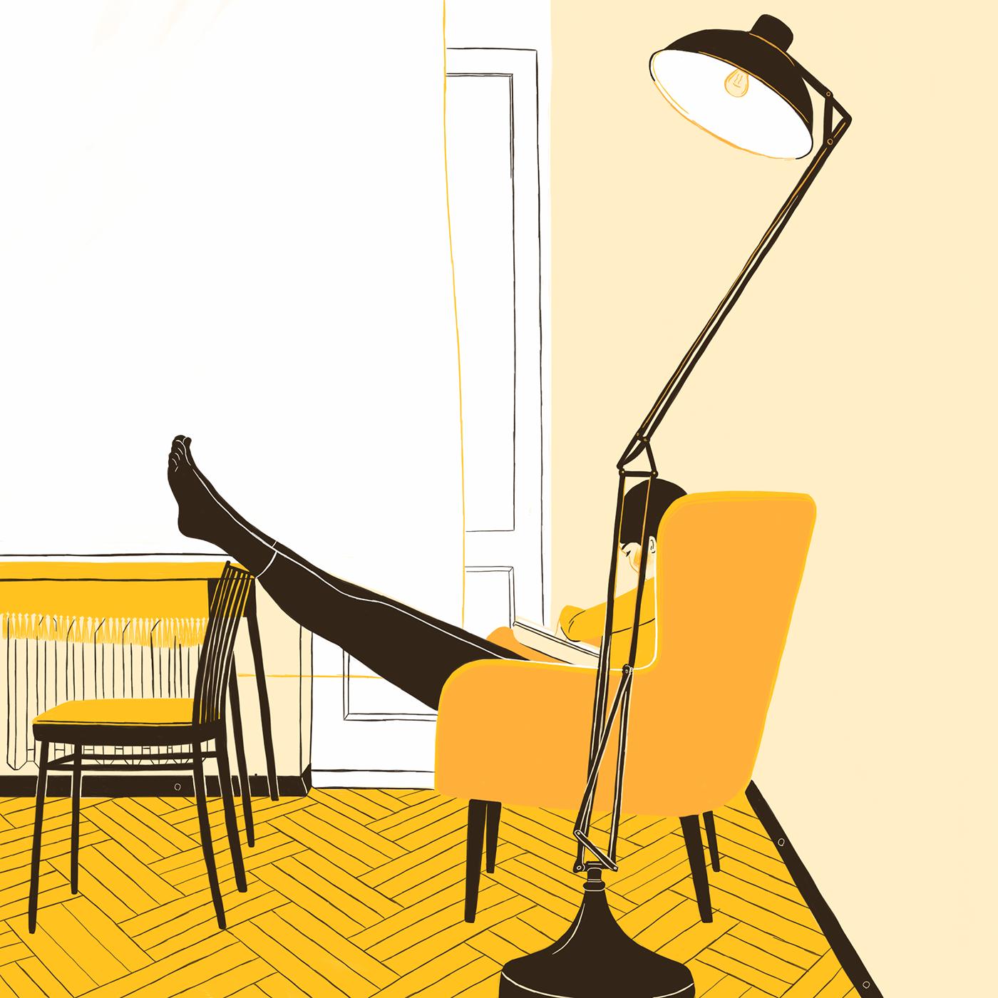 portrait in interior yellow
