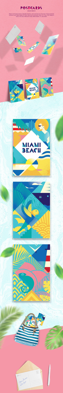 postcard,artdeco,miami,beach,summertime,florida,Style,poster,Retro,vintage