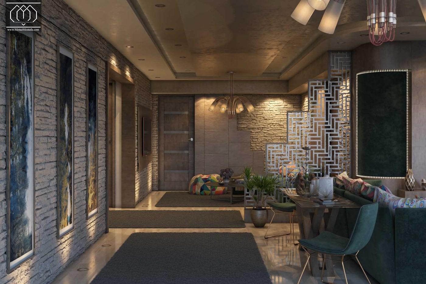 architecture Inteiror Design Interior design 3dsmax vray photoshop visualization graphics Motaz mostafa