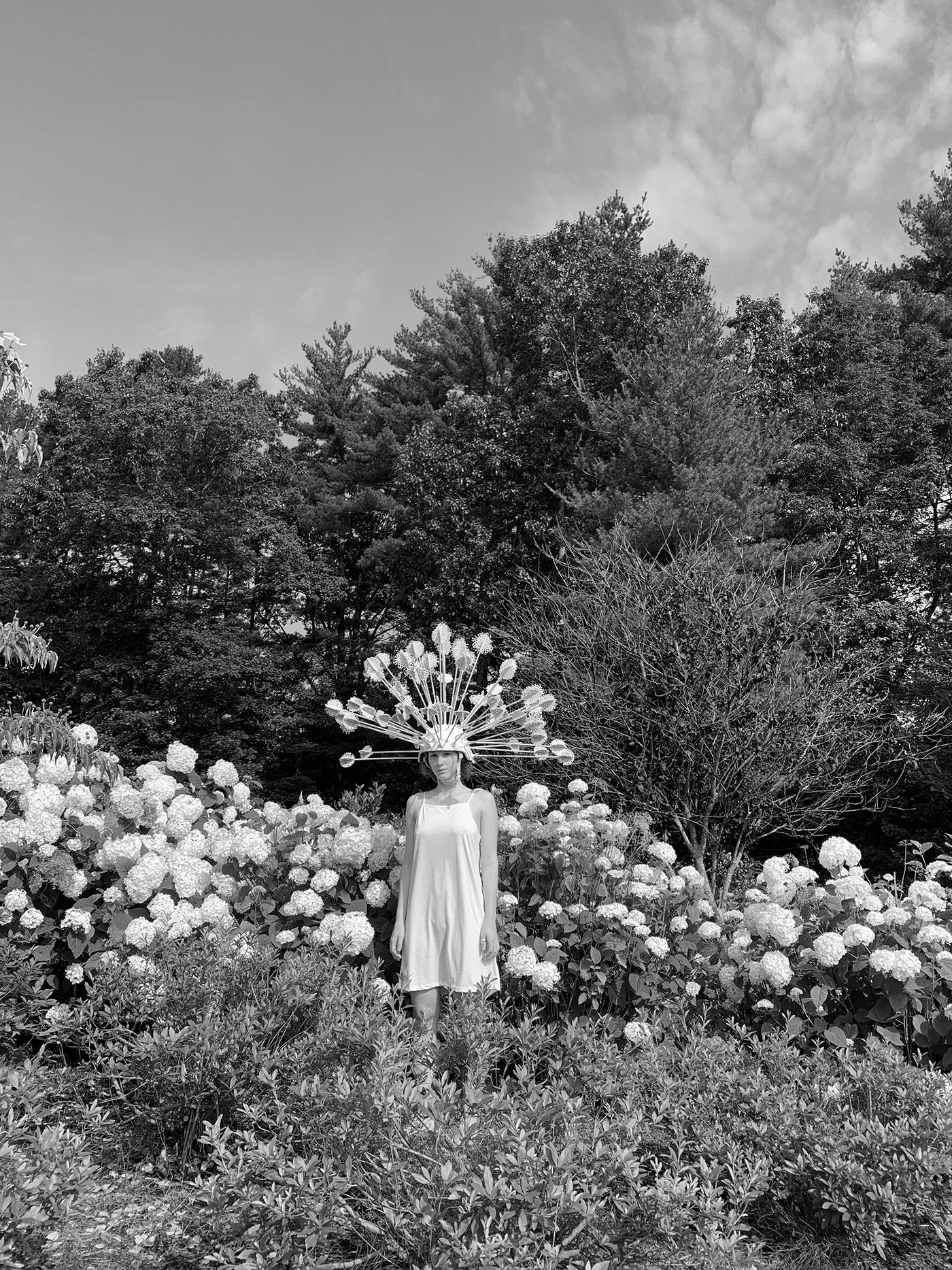 Fashion  dandelion apparel high fashion Wearable Sculpture sculpture jewelry Lemonbark Orangebark art