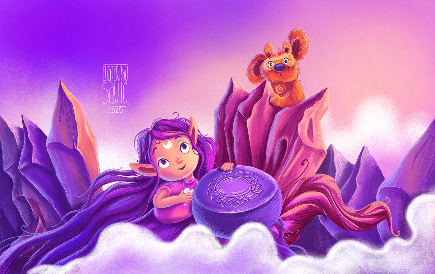 animation  art artwork book cartoon Character children cute design environment fairy tale game ILLUSTRATION  Love mermaid Nature rainbow