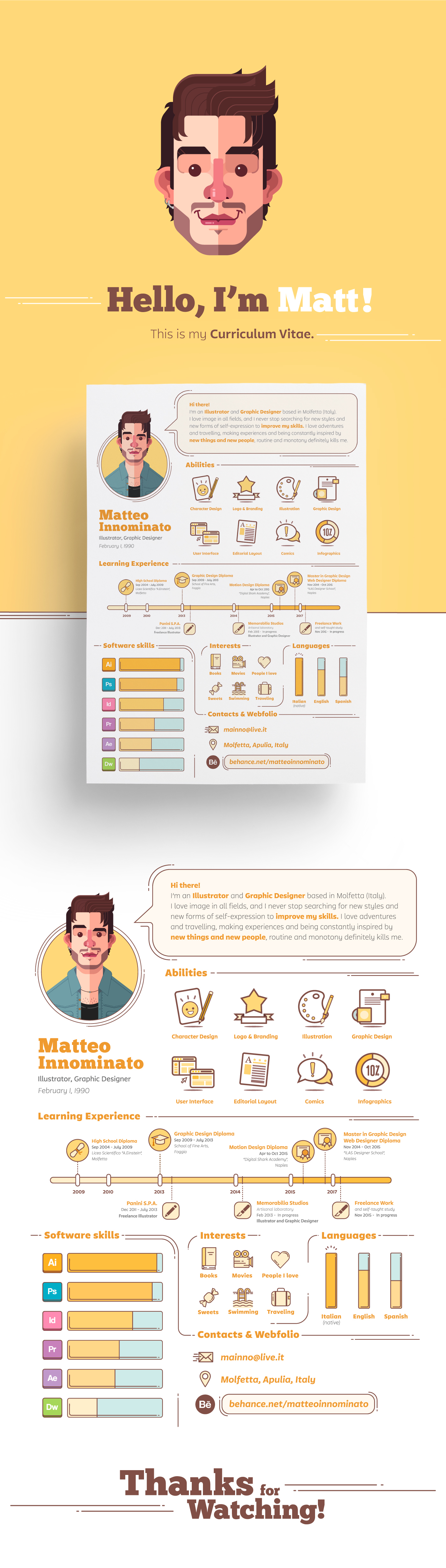 Resume Curriculum Vitae personal vector portrait Self Promotion flat personal project Personal Identity visual identity yellow Work