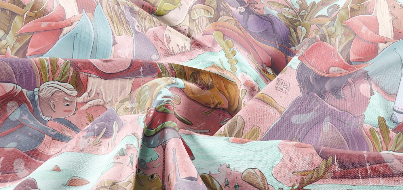 animal botanical Character fairy forest ILLUSTRATION  Magic   pattern print textile