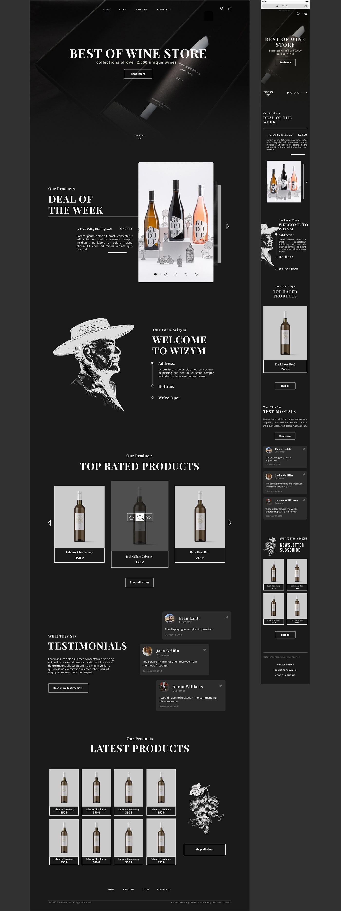 Wine store template design