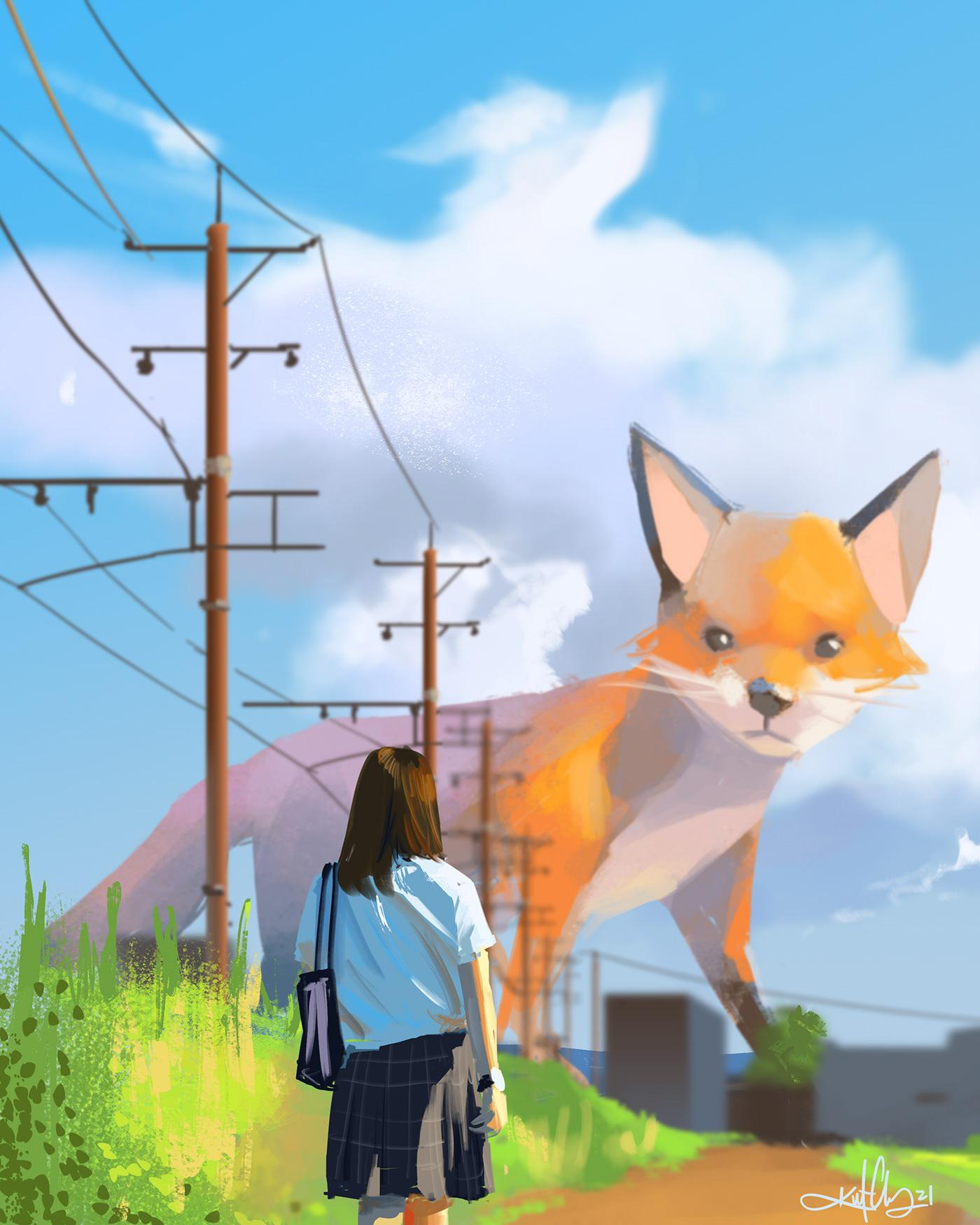 animal,Beautiful,cute,Daily Art,digital illustration,girl,kurt chang art,portraits,robot,Time Lapse