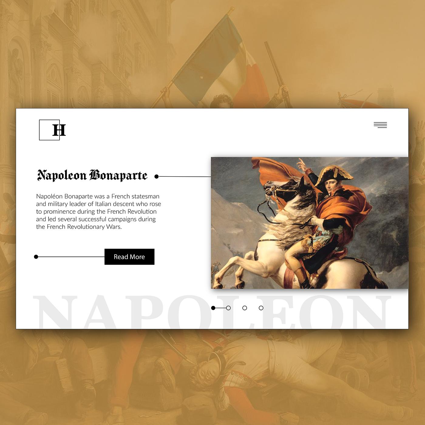 Classical Art UI graphics emperor history slider ux Webdesign
