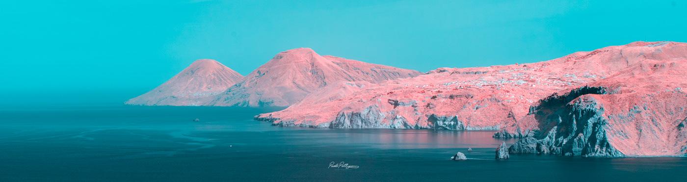 infrared red sea aeolian islands blue surreal Italy italia