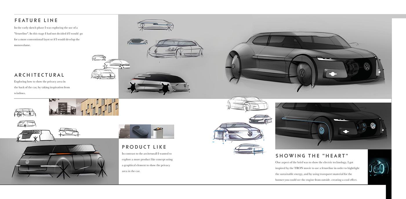 VW Autonomous sketch carconcept design