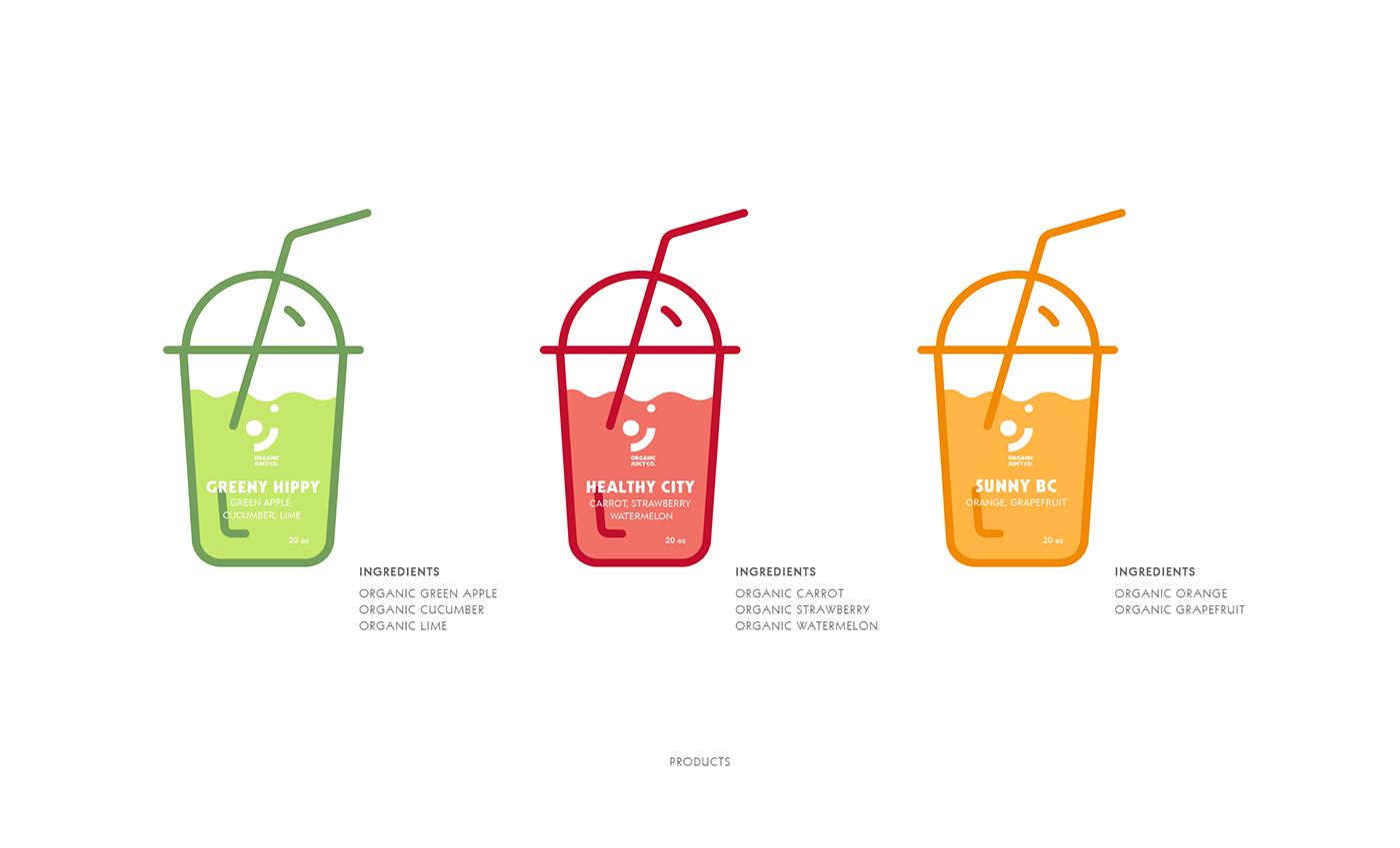 logo sticker icons Stationery juice organic design