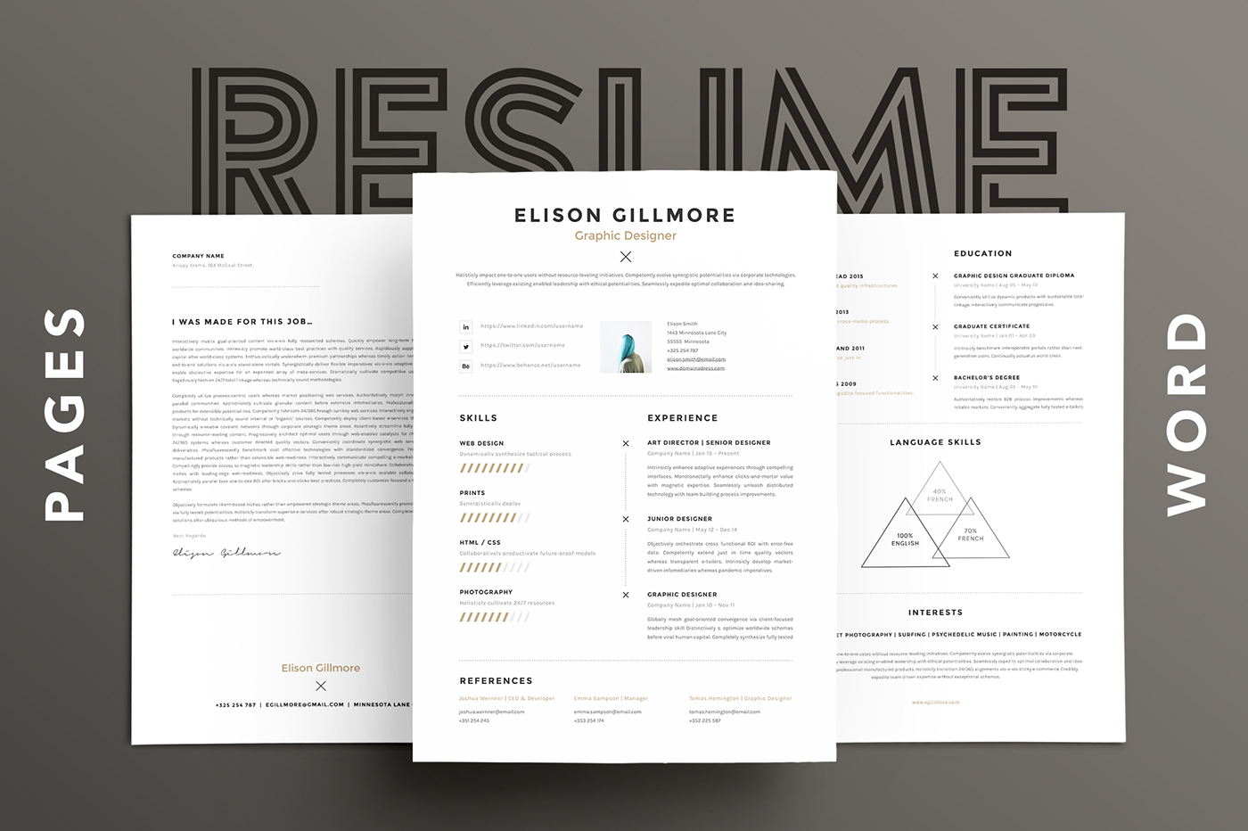 Unique resume cv template pages word on behance pronofoot35fo Images