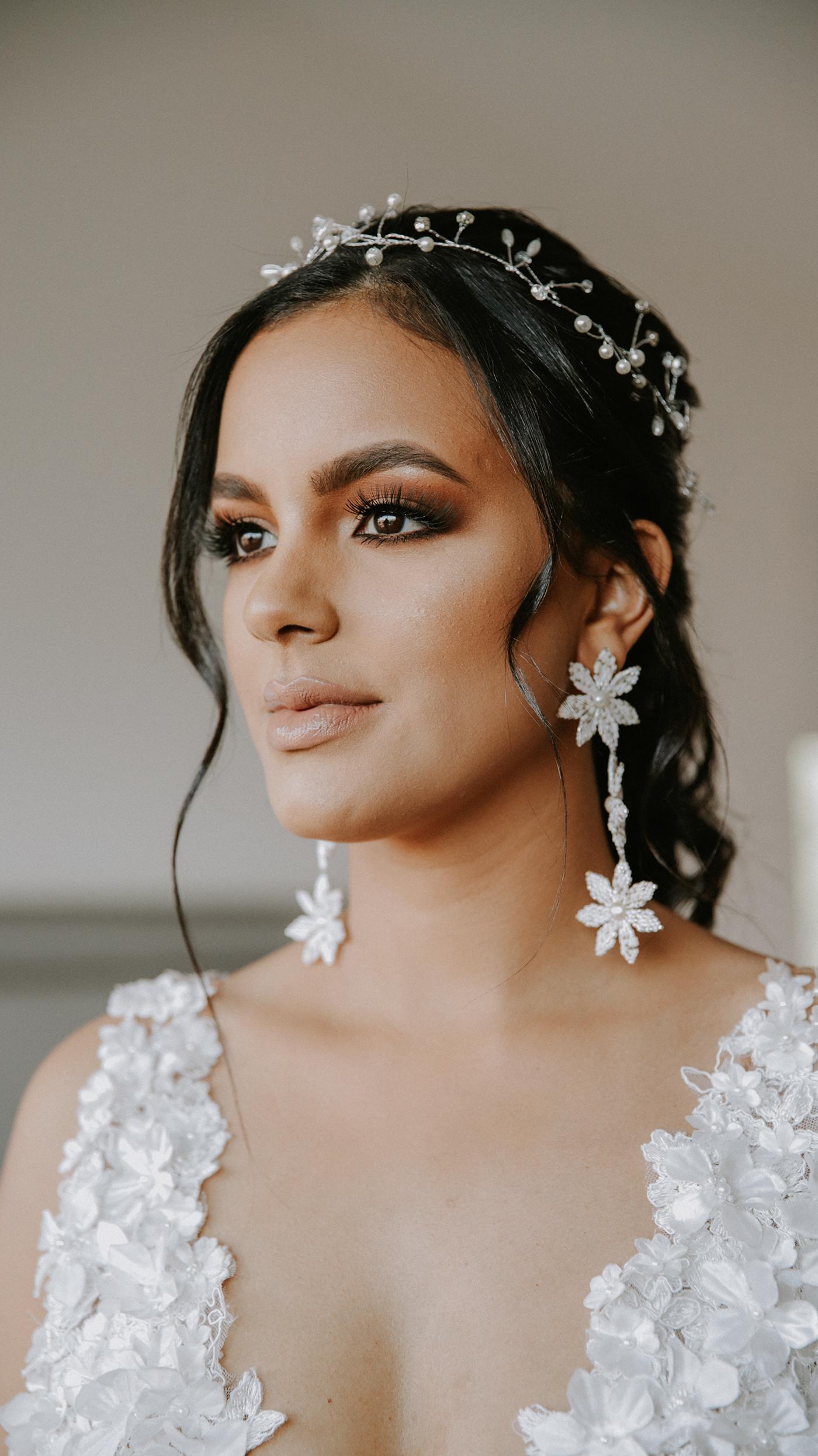 Image may contain: person, fashion accessory and bride