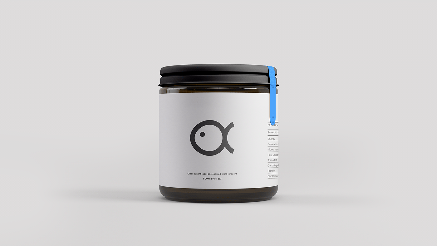 logo minimalist Icon modern clean fish Food  oil sleek Packaging