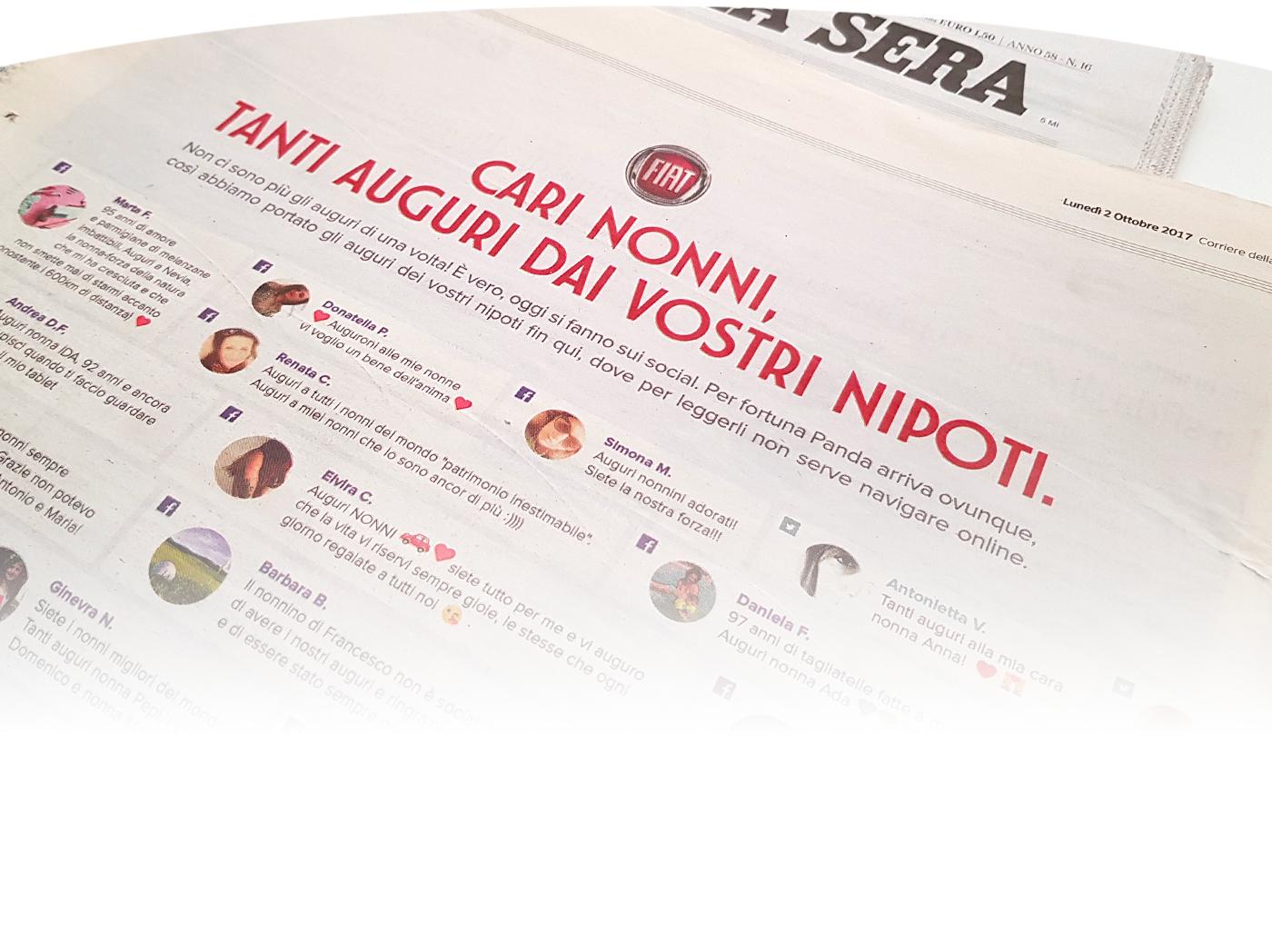 fiat car grandparents wish Panda  social best wishes newspaper print surprise